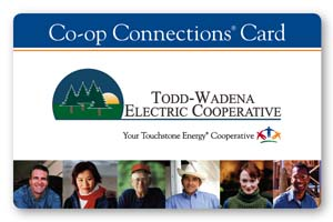 Todd-Wadena Electric Cooperative's Co-op Connection Card.