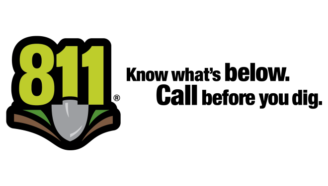 811 One Call logo and tagline: Know what's below—call before you dig.